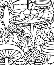 psychedelic hippie coloring page adult mushrooms sketch template