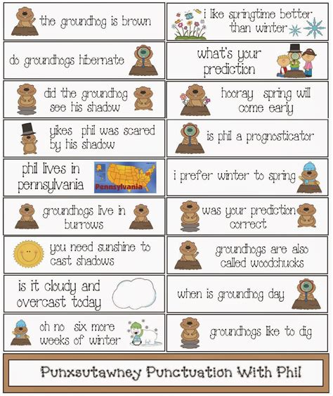 groundhog day viewing worksheet answers classroom freebies groundhog day punctuation packet