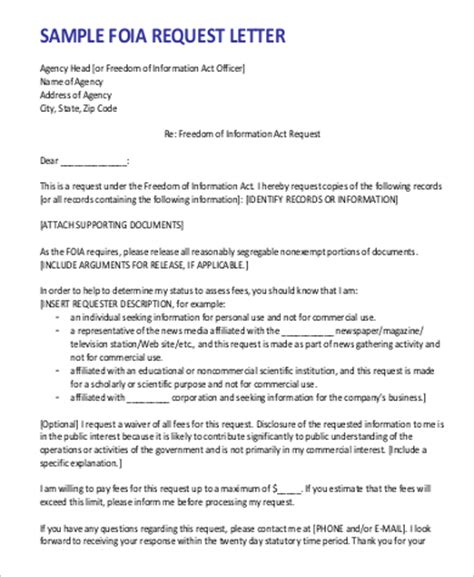 Foia Request Template sle letter of request 9 exles in word pdf