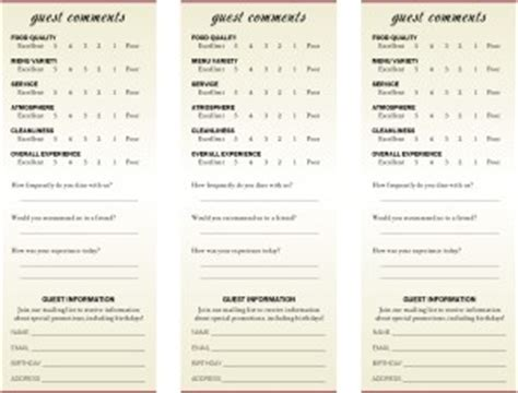 comment card templates for restaurants american restaurant comment card marketing archive