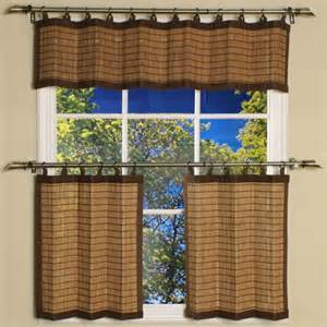 Bamboo Kitchen Curtains Valance Only For Kitchen Bamboo Colonial Brown Ring Tab Curtain Valance By Versailles Now I M