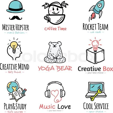 free doodle logo maker set of vector doodle and sketch style logos creative