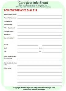 babysitter emergency sheet scouts pinterest