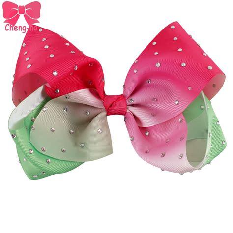 Ittaherl Clip 1 Pcs Watermelon 3pcs lot 7 quot big grosgrain ribbon small watermelon rhinestone bestie hair bow with clip for gilr