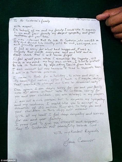 Handwritten Fundraising Letter Australian Connor Offers Donation To Family Of Murdered Bali