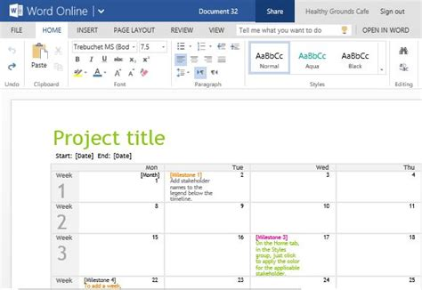 project calendar template project planning timeline calendar for word