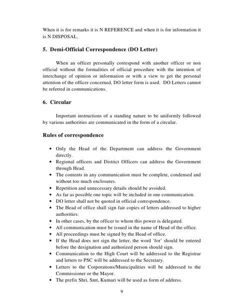 Demi Official Letter Format Kerala Manuai Of Office Procedures