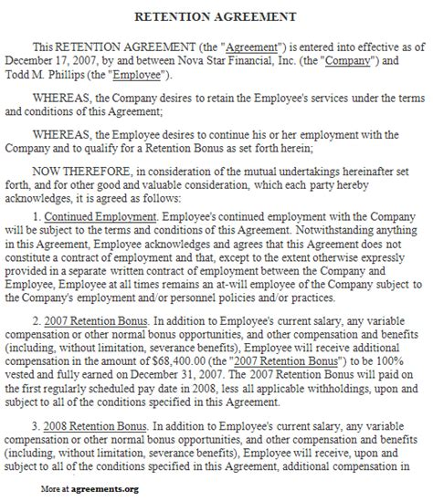 employee retention agreement template retention agreement sle retention agreement