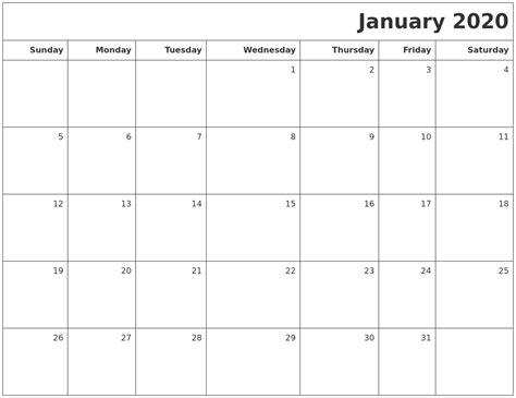 printable calendar january january 2020 printable blank calendar