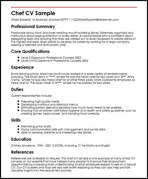 professional cv template uk chef cv sle myperfectcv