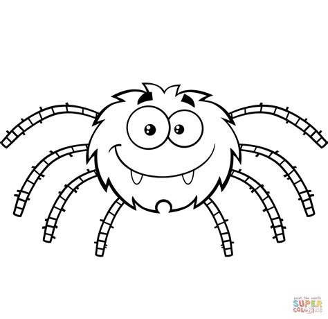 spider outline coloring page funny cartoon spider coloring page free printable