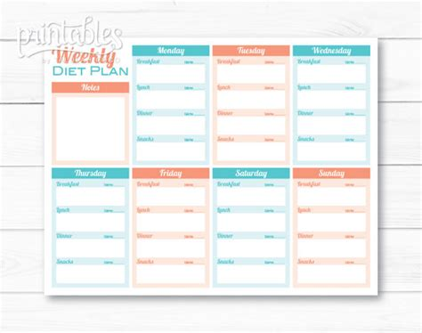 free printable exercise and menu planner meal planner for weight loss template printable meal planner