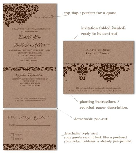 eco paper wedding invitations recycled wedding invitations dan s mask vintage edition