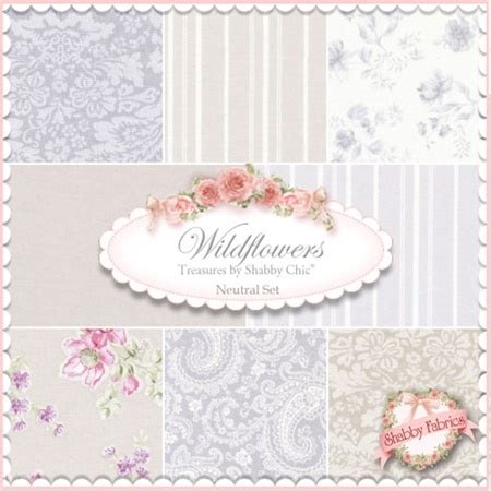 Wildflowers Fabric Neutral Set By Rachel Ashwell For Treasures By Shabby Chic
