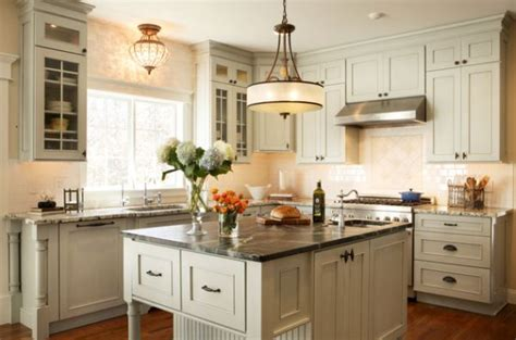 Light Fixtures Over Kitchen Island by Large Single Pendant Light Above A Small Kitchen Counter