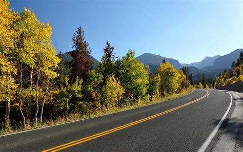 sky mountain autumn trees road wallpapers sky mountain