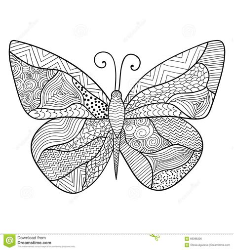 balance anti stress coloring zentangle balance and stress relief coloring book for adults detailed ornamental sketch of a butterfly stock vector