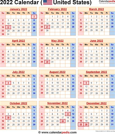 Columbus State Calendar 2022 Calendar For The Usa With Us Federal Holidays