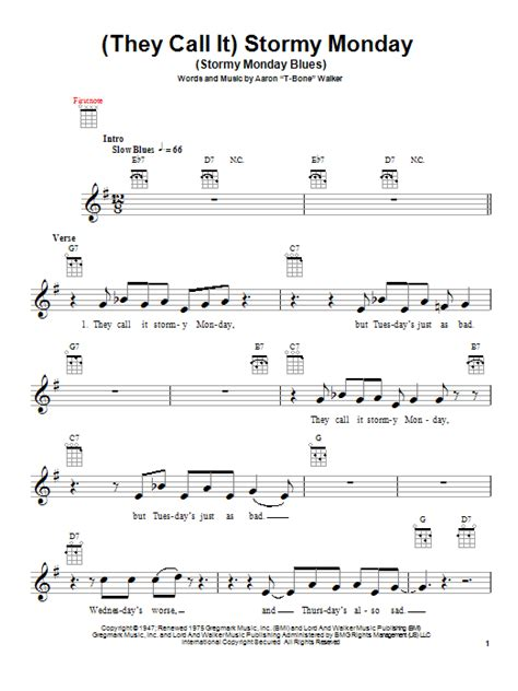 Stormy Monday Chords