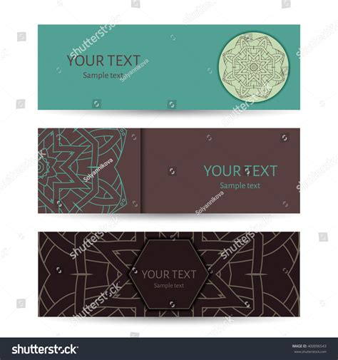 horizontal cards templates horizontal banner templates mandala pattern design stock
