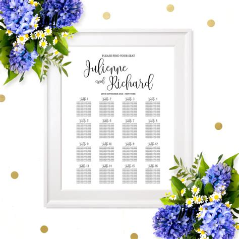 rehearsal dinner seating wedding seating chart poster printable welcome wedding