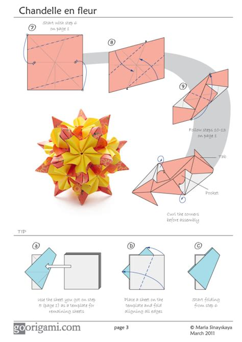 Origami Book Diagram - chandelle kusudama by sinayskaya diagram go origami