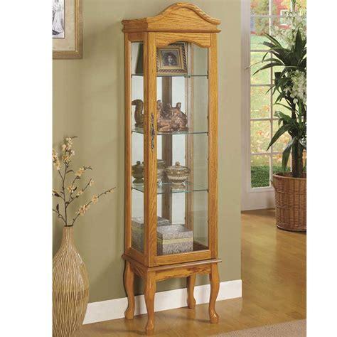 Corner Oak Display Cabinet With Glass Doors