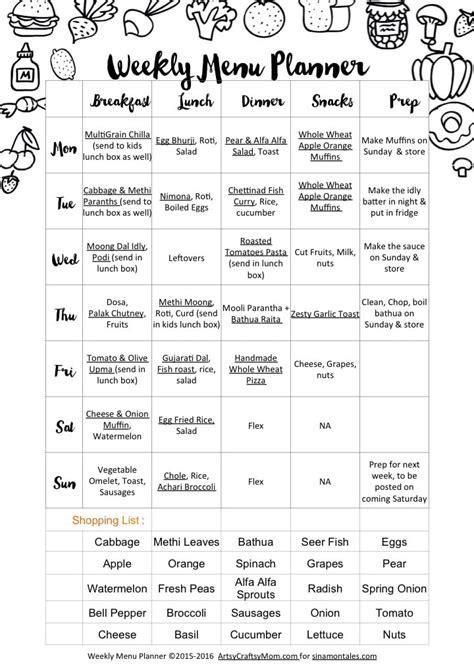 weekly menu weekly menu ww0116 sinamontales