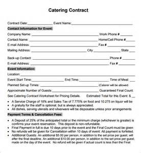 Catering Contract Templates by Catering Contract Template Free Template Design
