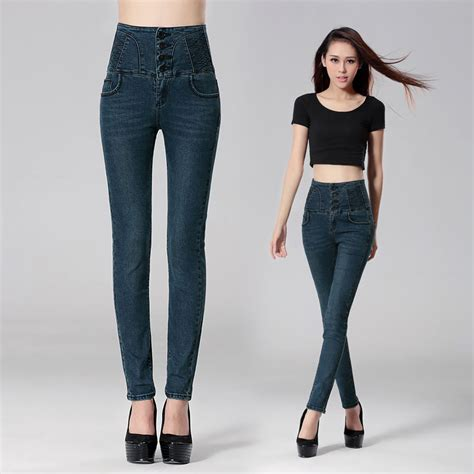 high waist jeans pants high rise pants for women creative blue high rise pants