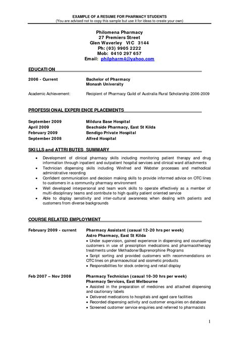Retail Pharmacist Resume by Pharmacy Technician Resume Template Resume Format Pdf