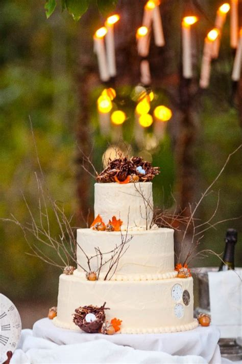 outdoor shower for cing outdoor fall wedding bird nest theme the cake was all