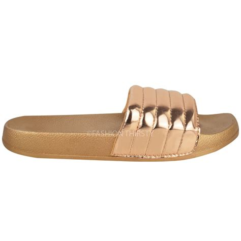womens comfy shiny quilted rubber sliders flats
