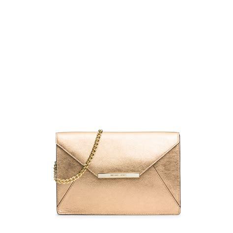 Envelope Clutch Gold lyst michael kors leather envelope clutch in metallic