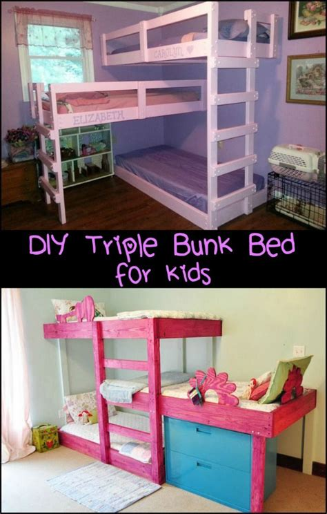 Three Level Bunk Bed Best 25 Pallet Bunk Beds Ideas On Bunk Bed Diy