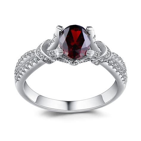 Garnet Sterling Silver Ring oval cut garnet 925 sterling silver birthstone rings