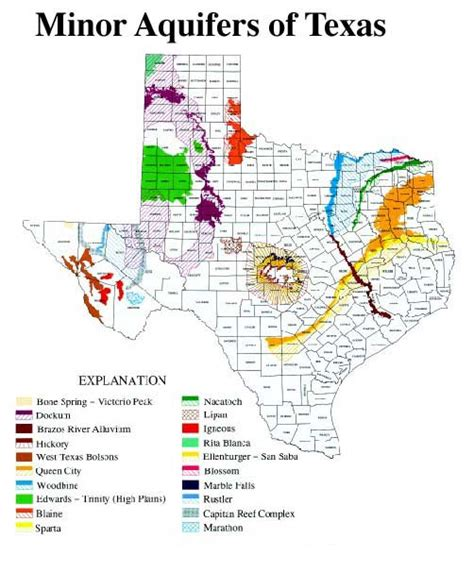texas aquifer map minor aquifers of texas
