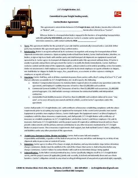 freight broker agreement template template update234 com