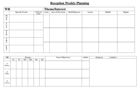 printable eyfs planning sheets weekly planning sheet reception by hyssop puppy