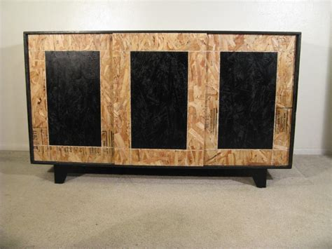 Asian Credenza Hand Made Sliding Door Osb Credenza With Hardwood Feet By