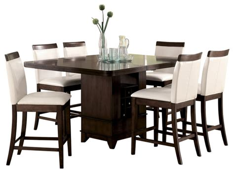 Homelegance Elmhurst Counter Height Dining Table With Wine Dining Table With Wine Storage