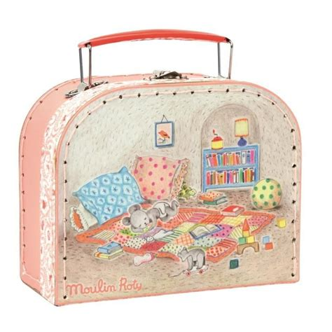 moulin roty mouse comforter moulin roty grand family baby mouse and suitcase set
