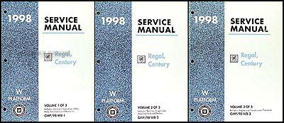 car repair manual download 1998 buick century electronic throttle control 1998 buick regal and century repair shop manual original 3 volume set