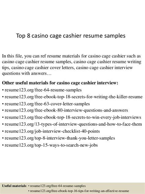 Resume Sles For Casino Cashier Top 8 Casino Cage Cashier Resume Sles