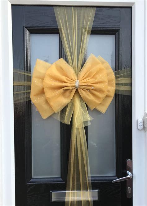 deluxe double door bow gold door bow