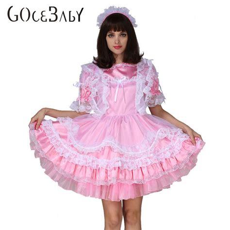 sissy baby in satin dress adult baby sissy boy maid satin lockable puffy dress