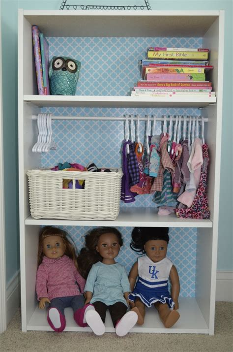 doll storage 20 bookshelf from target add tension rod