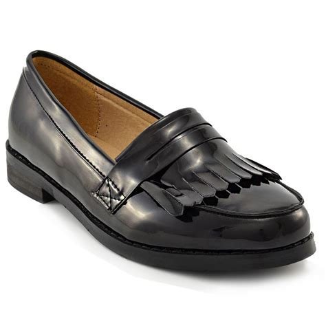 black flat work shoes womens black loafers fringe flat office work school