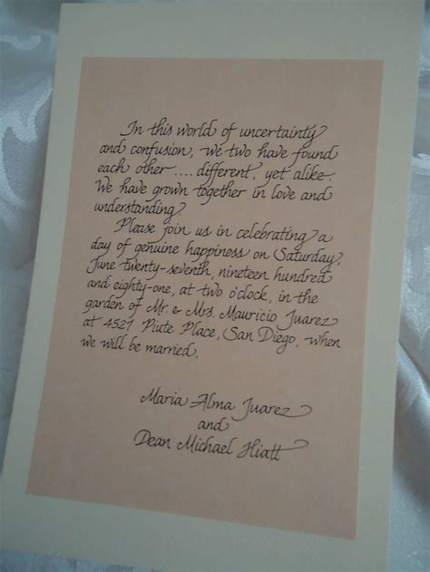 Handwritten Letter Wedding Invitation Handwritten Wedding Invitation Calligraphy