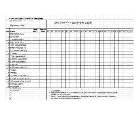 construction schedule templates 21 construction schedule templates in word excel